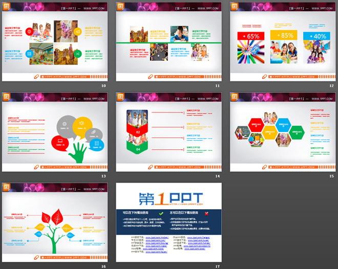 彩色扁平化教育培训PPT图表