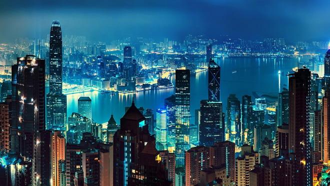 城市夜景PowerPoint背景图片