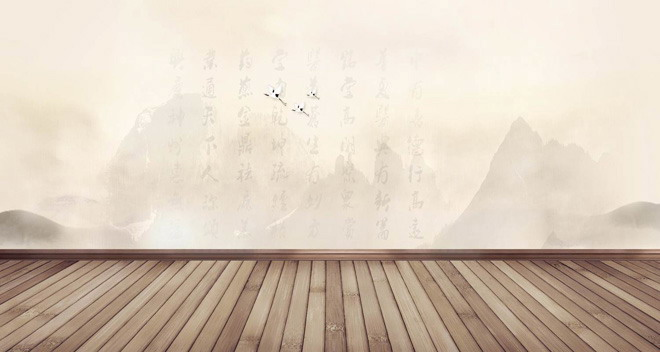 水墨画木板PPT背景图片
