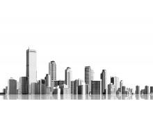 黑白透明的楼群app自助领取彩金38PPT背景图片