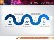 蓝色扁平化商务PowerPoint图表免费下载