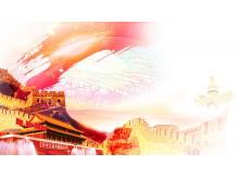 红色天安门万里长城PPT背景图片