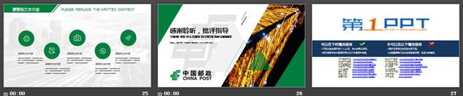 绿色动态中国邮政储蓄银行工作汇报PPT模板