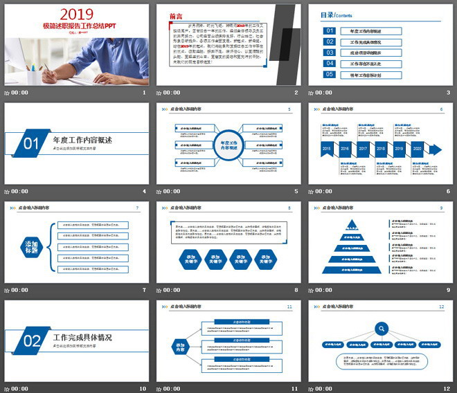 简洁设计的述职报告工作总结PPT模板免费下载