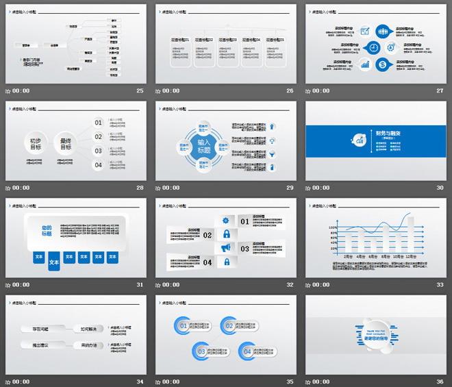 蓝色城市剪影背景的商业融资计划书PPT模板