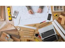 四张与建筑图纸相关的幻灯片背景图片