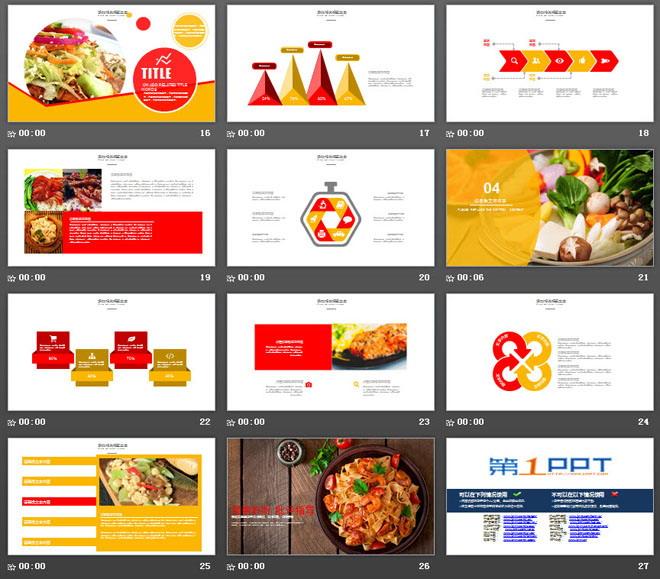 中国传统美食幻灯片模板免费下载