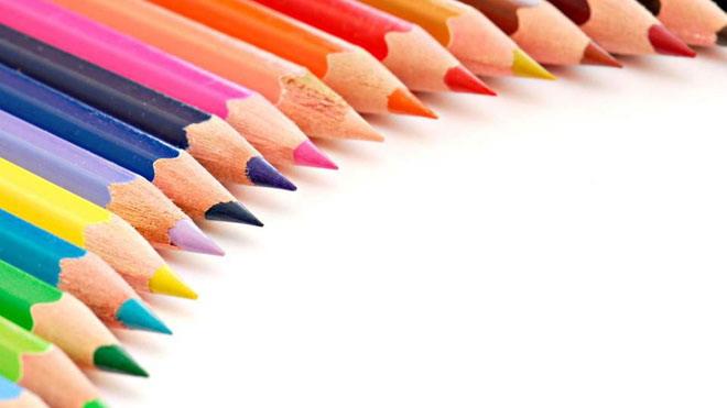 三张彩色铅笔文件办公用品PPT背景图片