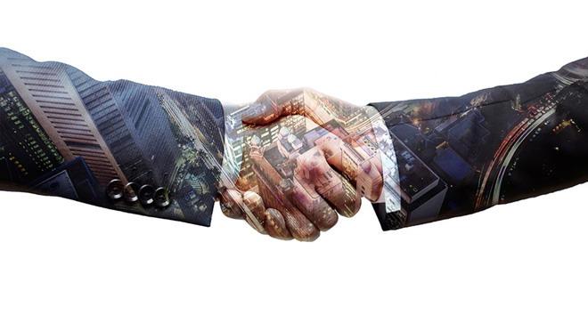 握手合作PPT背景图片