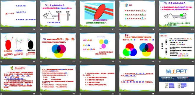 特点   4.实像与虚像的区别   《物体的颜色》光现象PPT课件2 详细介绍