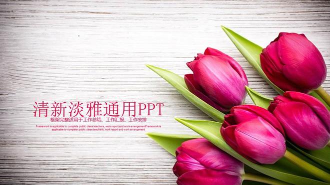 精致玫瑰花背景的爱情情人节PPT模板