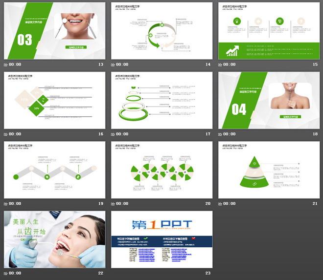 绿色扁平化牙齿护理PPT模板