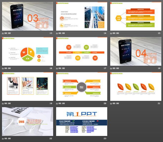 橙色电子产品背景的通用商务汇报PPT模板