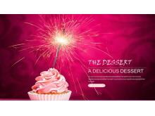 粉色冰激凌甜点背景的美食PPT模板