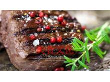黑椒牛肉烤肉背景的美食PowerPoint模板