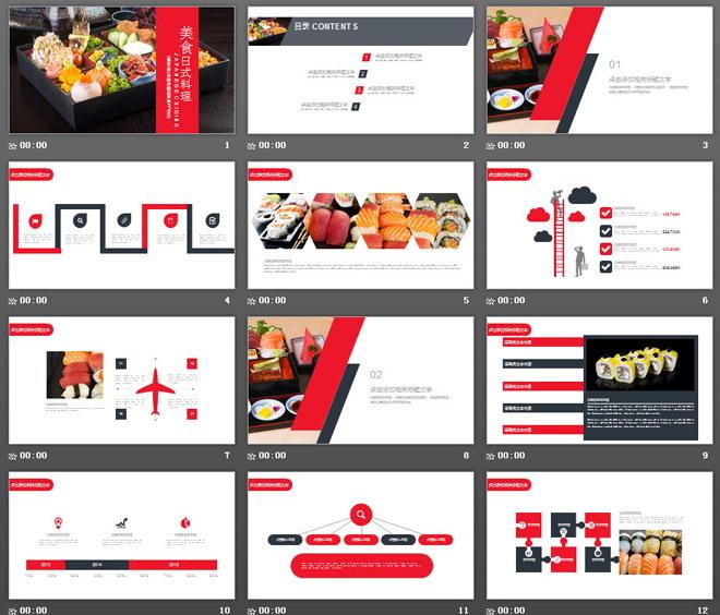 介绍中国茶文化的ppt_日本料理背景的美食PPT模板 - 第一PPT