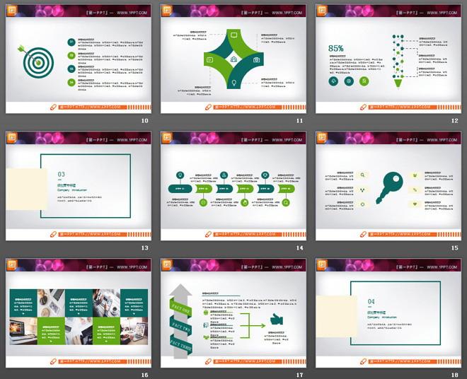 绿色扁平化工作汇报PPT图表大全