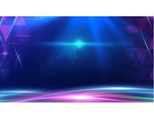 蓝色光影效果的科技PPT背景图片