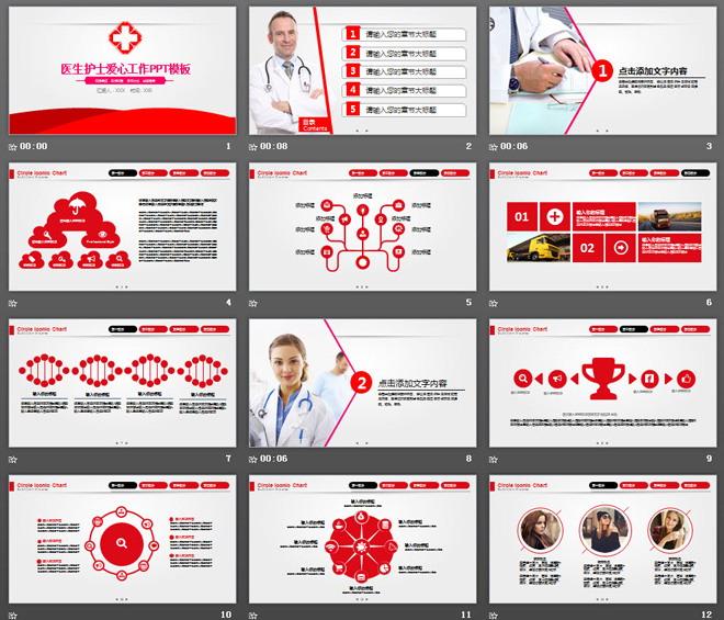 医院医生护士工作总结汇报PPT模板