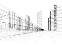 抽象城市线条透视图PPT背景图片