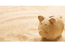 小金猪背景的金融理财行业PPT背景图片