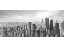 灰色超宽屏商业建筑幻灯片背景图片