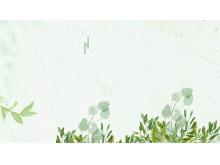 三张唯美绿色水彩植物PPT背景图片
