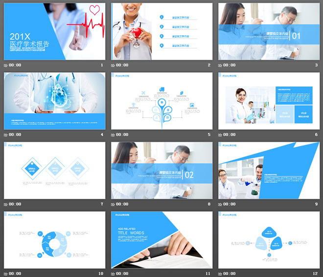 蓝色扁平化医疗学术报告PPT模板