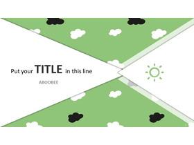 绿色卡通云朵背景的清新幻灯片模板免费下载