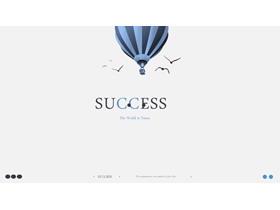 蓝色极简热气球背景创意PPT模板免费下载