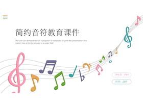 彩色音符背景的动态音乐教育培训PPT模板