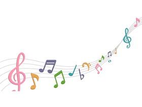 彩色音符音乐课件PPT背景图片