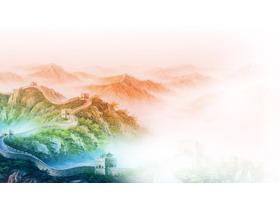 彩色渲染的万里长城PPT背景图片