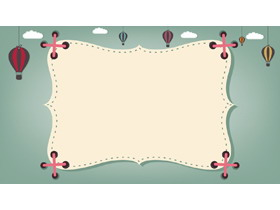 三张绿色卡通PPT边框背景图片