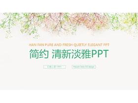 简洁淡雅唯美花枝背景PowerPoint中国嘻哈tt娱乐平台