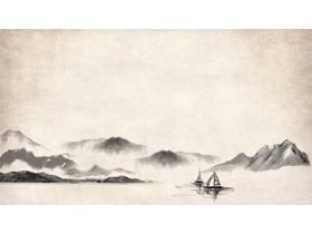 六张水墨山水画古典中国风PPT背景图片