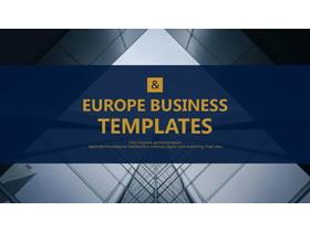 深蓝色现代化建筑背景的大全欧美PPT模板