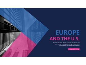 蓝粉扁平化设计的欧美商务PPT中国嘻哈tt娱乐平台