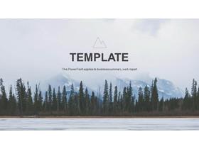 欧美雪山湖泊森林背景自然风光PPT模板