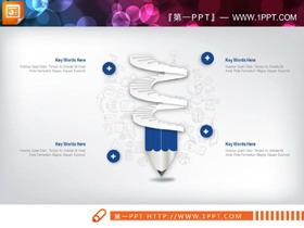 蓝色简洁微立体商务PPT图表大全