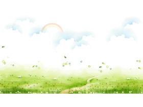 清新草地白云彩虹卡通PPT背景图片
