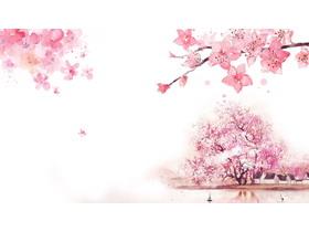 六��粉色唯美桃花PPT背景�D片