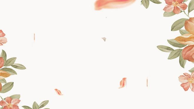 兩張橙色藝術彩繪植物葉子ppt背景圖片