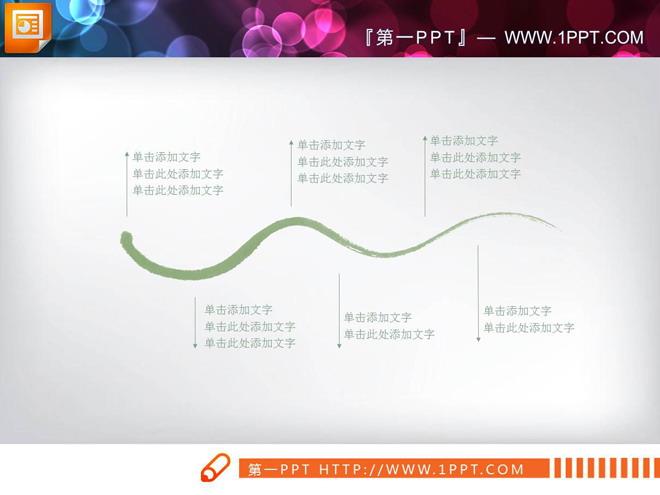 淡雅绿色水墨中国风PPT图表大全