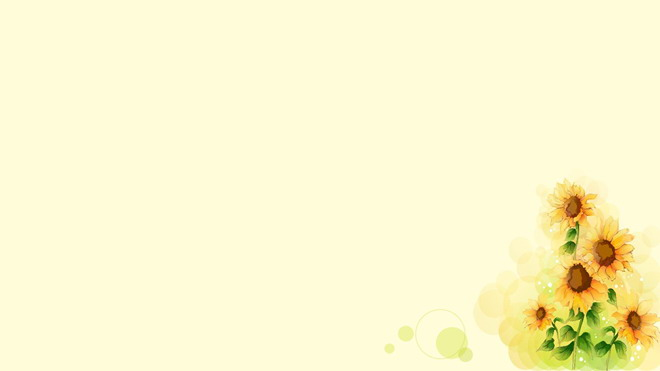 四张唯美手绘向日葵ppt背景图片