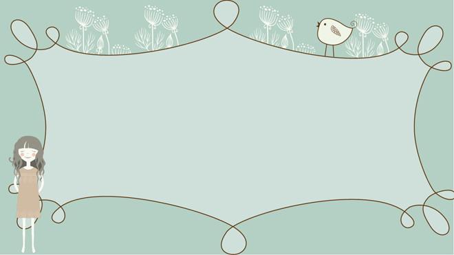 三张淡雅唯美手绘卡通树林PPT背景图片