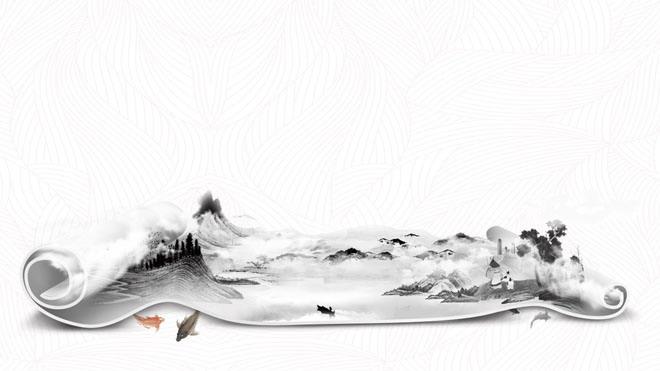 两张创意水墨卷轴幻灯片背景图片