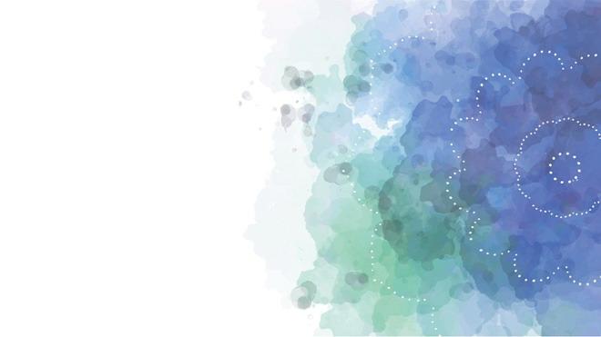 三张蓝色淡雅水彩PPT背景图片