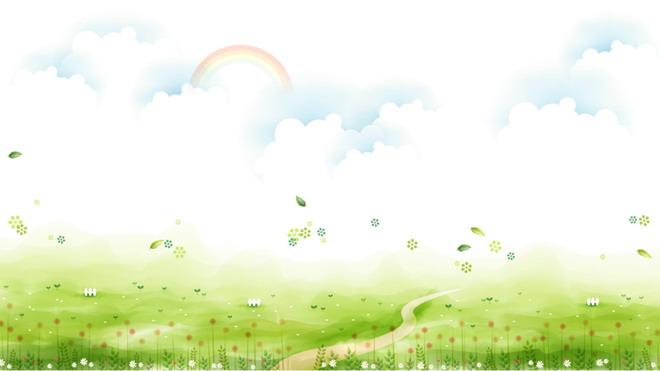第一PPT模板网提供精美卡通幻灯片背景图片免费下载;-清新草地白