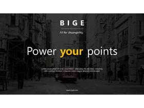 黑色欧美街景背景的图片排版PPT模板